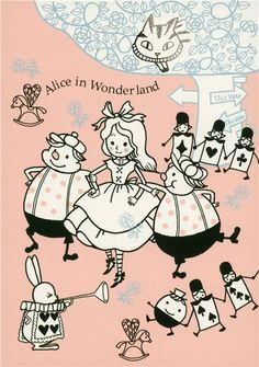 Shinzi Katoh fairy tale postcard Alice in Wonderland 1