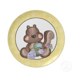 Cartoon Squirrel Holiday Easter Plate