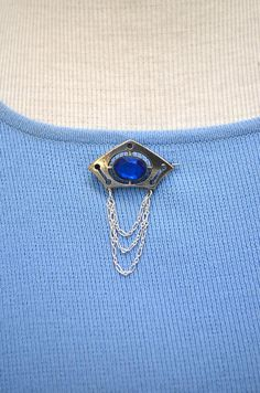 Art Deco Silver Plated Blue Glass Brooch Vintage with Sterling