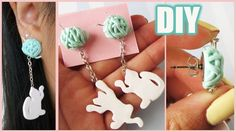 DIY Cat & Yarn Dangling Earrings || Collab w.NerdECrafter (polymer clay tutorial)