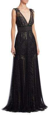 Marchesa Notte Embroidered Column Gown