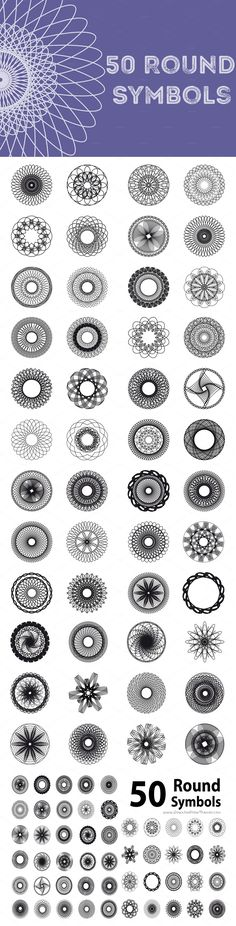 Big set of 50 #Spirograph shapes #graphics #design Use these #shapes to create backgrounds, #vector logos, frames or whatever you want download now➩ https://creativemarket.com/Valedella/656044-50-Spirograph-Shapes?u=Datasata
