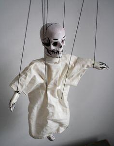 Vintage Halloween skeleton marionette