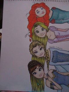 Merida Rapunzel Elsa Anna