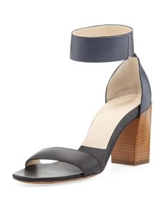 "Classified ""The City Shoe"" for its comfort and style. Two-Tone Ankle Strap Sandal, Black/Seawater by Chloe at Neiman Marcus."