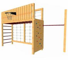 LoggyLand Klettergerüst Basketballkorb Kletternetz Reckstange Hangelgerüst Holz