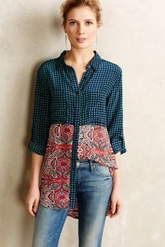 Tolani Pastiche Printed Silk Tunic #anthrofave #anthropologie