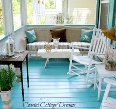 These Relaxing outdoor spaces make me feel like I'm at the beach, right by the water's edge. All because of the blue porch floors. Miami Shore Cottage Florida Beach House on Amelia Island Cottage on the Coast of South Carolina Home at Point Clear, Alabama Tybee Island Rental Cottage Landlocked Beach House My Home Ideas …