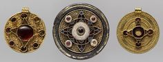 """Disk Brooch and Two Pendants [Anglo-Saxon] (1987.90.1-3) 