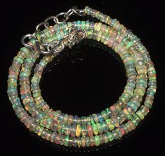 """32 Ctw1Necklace 2to4 mm 16""""Beads Natural Genuine Ethiopian Welo Fire Opal R3363"""