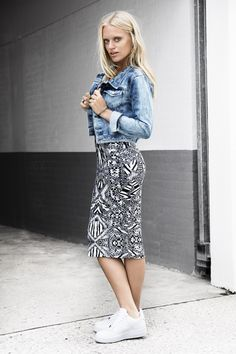 Printed dress and denim jacket. All prints goes with denim.