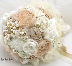 Brooch Bouquet Bridal Fabric Bouquet Wedding Bouquet by SolBijou, $290.00