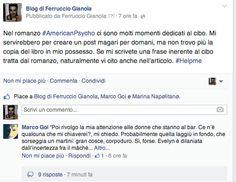Ferruccio Gianola: American Psycho e il pranzo servito da Marco Goi