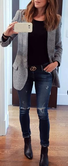 how to mix a tweed blazer with rips