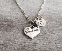 CUSTOM NECKLACE, Silver Plated Necklace, Sister in law Heart necklace, Sister in law gift, Crystal Heart, Sister in law Jewelry, Sister Gift by SAjolie, $18.50 USD