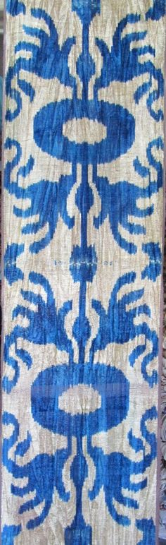 my new love-ikat fabric !!!!!!!! Dining room chairs are navy and white ikat!