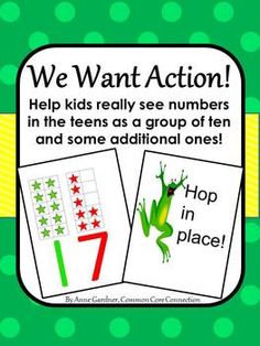 "Ten Frame ""We Want Action"" Game (Includes Ten Frame Number Posters for 0 - Math Activities For Kids, Math Resources, Math Games, Kids Learning, Math Classroom, Kindergarten Math, Teaching Math, Preschool, Teaching Ideas"