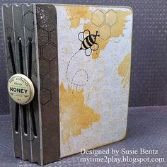 Joy Clair Promotion Day 3 with Susie! Hello and welcome! Susie here hosting the blog today.   All this week we are partnering with Joy Clair, pairing their wonderful stamps with our fabulous inks and papers. My sister and a friend raise honey bees and I recently got to help with a honey harvest! It was quite the adventure and I created a mini album to hold my pictures.