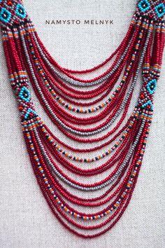 America indian statement Bib necklace. Southwest burgundy | Etsy