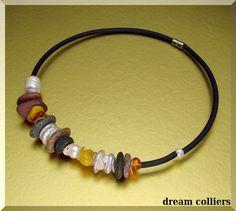 Jaspis - Kiesel & Bernsteincollier - ein Designerstück von Dream-Colliers bei DaWanda