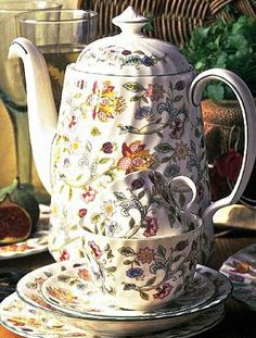 Minton Haddon Hall china. My mom started giving me pieces of this china set when I was a little girl. I still love it.