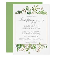 Botanical Dream Green and Golden Brown Leaves | Card - spring wedding diy marriage customize personalize couple idea individuel