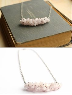 Boho Bar Necklace Pink gemstone necklace Quartz chips necklace Bohemian layering necklace Bridesmaid necklace Statement necklace - pinned by pin4etsy.com