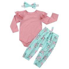Pudcoco Cute Baby Set Spring Newborn Baby Girls Flying Sleeve Tops Kid Girl Floral Pant New Infant Baby Girls Headwear Outfits, Ropa de niña, Baby Girl Pants, Baby Girl Romper, Baby Girl Newborn, Baby Girls, Floral Leggings Outfit, Floral Pants, Floral Sleeve, Outfits Niños, Kids Outfits