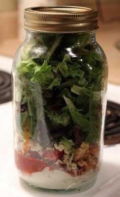 Salads in a Jar (includes some recipes) - sweet idea! So many amazing ideas with mason jars on Pinterest. Who knew? haha