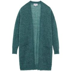 Mohair Long Line Cardigan ❤ liked on Polyvore featuring tops, cardigans, blue top, long line cardigan, textured top, longline tops and textured cardigan