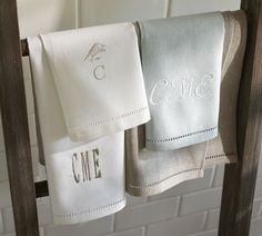 A nice Wedding Gift, and a great addition to the Bridal Registry, Linen Hemstitch Guest Towels, Set of 2 | Pottery Barn