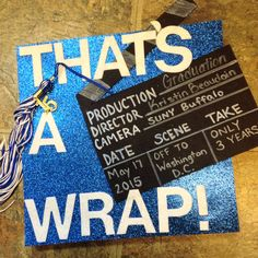 Graduation Hat! Felt letters, glitter paper, and black foam!Just a super quick design that was actually easy to read for my parents sitting back in the bleachers. Cap and gown
