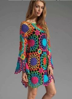 Vestido crochet  colores brillantes  ideal para la playa