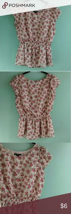 """Pretty floral blouse Romantic floral blouse with two layers of light material and gathered elastic waistline. Has nice cap sleeves. Material is 100% polyester. Size medium from forever 21. Measurements: 24"""" top to bottom, 20"""" bust lying flat, waist goes from 13"""" flat to 19"""" stretched fully. So cute! Forever 21 Tops"""