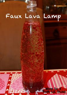 Use simple kitchen items to make your very own faux lava lamp! So much fun!