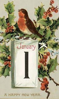 vintage New Year Illustration cute bird
