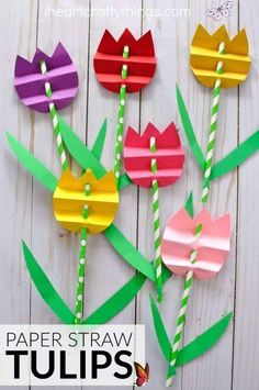 25 Easy Spring Crafts For Kids To Make | The Chic Pursuit 25 Best easy spring crafts for kids to make: simple spring crafts for toddlers & spring crafts for preschool kids. Spring crafts for kids flowers: Paper straw tulips | Image © I heart Crafty Things | From quick & easy easter crafts for kids to spring crafts for kids art projects in the classroom and educational spring crafts for kids. These homemade DIY spring crafts for kids are super fun. Elementary spring crafts for kids… Diy Mother's Day Crafts, Easy Easter Crafts, Mothers Day Crafts For Kids, Easter Crafts For Kids, Preschool Crafts, Paper Crafts, Craft Kids, Diy Paper, Kids Diy