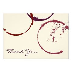 Flat Thank You Note Cards | Red Wine Stain Rings Modern Rustic Style #red #wine #thankyou #flat #card