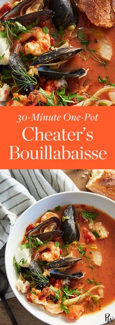 One-Pot Cheater's Bouillabaisse halve serving size Fish Recipes, Seafood Recipes, Great Recipes, Soup Recipes, Cooking Recipes, Favorite Recipes, Healthy Recipes, Cooking Food, Easy Cooking