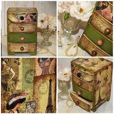 "Girls Jewelry Keepsake Box , Four Drawer Box "" Parisian "" Rustic Decoupage…"