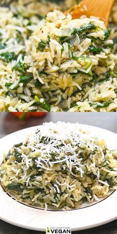Spinach Dinner Recipes, Veggie Recipes, Indian Food Recipes, Healthy Dinner Recipes, Whole Food Recipes, Spinach Recipes Vegetarian, Vegan Vegetarian, Vegan Recipes With Rice, Recipes With Fresh Spinach