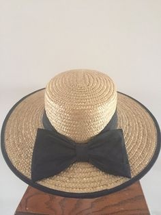 Wide Brim Straw Hat Trimmed in Black perfect Summer by Reneesance  #strawhat #morigirl #romanticstyle