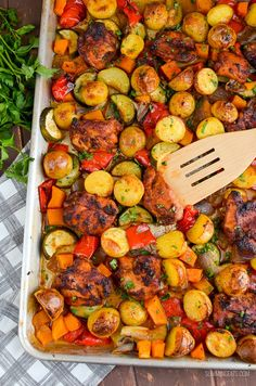 Low Syn Chicken, Potato, Vegetable Tray Bake   Slimming World