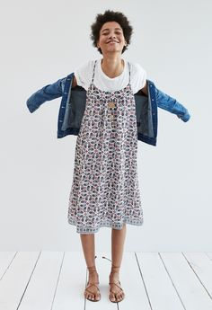madewell cross-back cami dress worn with the jean jacket + whisper cotton tee.