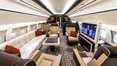 The custom Airbus ACJ319 interior features five individual private mini-suites…