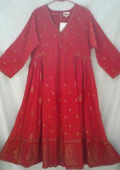 Rare Organic cotton Boho chic Anokhi Gilt Paisley floral Red Hand block print Indian Gypsy style Maxi Dress XL/2XL