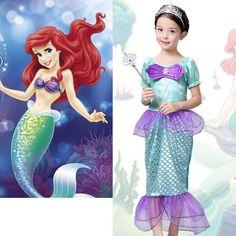 The Little Mermaid Ariel Kids Girls Dresses Princess Cosplay Halloween Costume #Unbranded #Dress