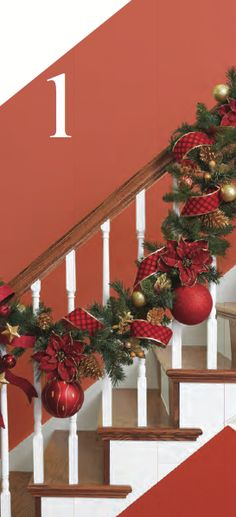 This reminds me of my moms Christmas stair rail decorations