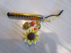 Handmade For You Bejeweled Cell Phone Telescope Stylus Yellow Orange Sunflower Electronic Devices Bling Dust Plug Ipod Ipad Tablets S9 by JewelsHandmadeForYou on Etsy