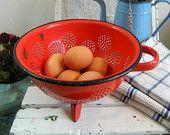 red enamelware strainer, colander with handle. french vintage kitcheware.